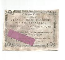 DD 288. GERARD-JEAN-FRANCOIS VAN DER STRAETEN - °1810 - Gravure Gallo - Andachtsbilder