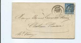 N° YT 90 Sur Lettre De Lille Pour Chateauponsac Hte Vienne 1885  Cachet Ambulant Type De 1854 - 1877-1920: Semi Modern Period
