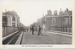 36 - INDRE - CHATEAUROUX - LE PONT EN FER (aujourd'hui Détruit ) Avenue De L' Hopital  - Dos Vert - Au Bélier BON ETAT - Chateauroux