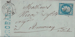 GARD - BAGNOLS SUR CEZE - N°14 OBLITERATION PC231 - LETTRE POUR ANNONAY LE 13 AOUT 1858 - AVEC TEXTE ET SIGNATURE. - 1849-1876: Classic Period