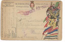 Italie Guerre 14 18 Poste Militaire Sur Carte Drapeaux CAD Posta Militare 111 + Griffe Violette Verificato Per C    ...G - Zonder Classificatie