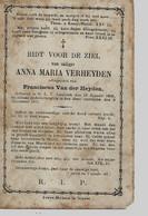 Souvenir Mortuaire VERHEYDEN Anna (1836-1877) Echtg. VAN DER HEYDEN, F. Geboren En Overleden Te ---> - Andachtsbilder