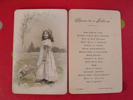 Chromo Menu De Baptême En Deux Parties. 1911. Fillette Et Brouette De Fleurs - Otros