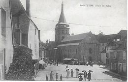 36 - INDRE - SAINT GAULTIER - PLACE DE L'EGLISE - UN JOUR DE MARCHE - EDIT . Sageret Guilloiseau  BON ETAT - Autres Communes