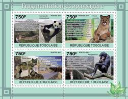 Togo 2011 MNH - Habitat Fragmentation, Animals. YT 2420-2423, Mi 3874-3877 - Togo (1960-...)