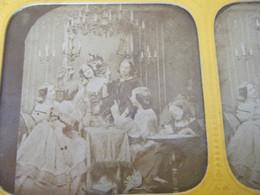 Photo Stéréoscopique  Colorisée Famille Bourgeoise - Stereoscopic