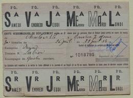 SNCF - Chemin De Fer - Carte Hebdomadaire De Déplacement - Troisième Classe 1954 - Season Ticket