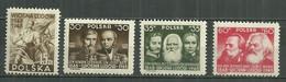 POLAND MNH ** 509-512 Centenaire De La Révolution De 1848 Engels Marx Généraux Dembowski Bem - Unused Stamps