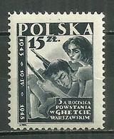 POLAND MNH ** 513 Anniversaire De La Résistance Aux Nazis Du Ghetto De Varsovie, Insurgés, Arme - Unused Stamps