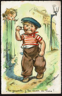 Carte Illustrateur Germaine BOURET - Les Grands, J'les Casse En Trois ! Enfant Garçon Fumant La Pipe - 2 Scans - Bouret, Germaine
