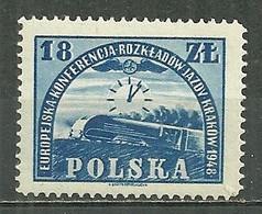 POLAND MNH ** 528 CONFERENCE CHEMIN DE FER. LOCOMOTIVE. TRAIN - Unused Stamps