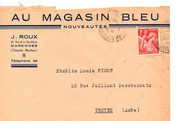 E 8 1940/45 Lettre A Entete Au Magasin Bleu à Marennes - 1921-1960: Periodo Moderno