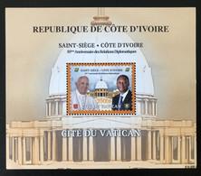 Côte D'Ivoire Ivory Coast 2020 Bloc S/S Block Joint Issue Emission Commune Vatican 50 Ans Relations Pape Pope President - Costa D'Avorio (1960-...)