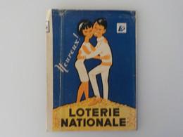 Ancien Protège-cahier Publicitaire Loterie Nationale Couple Amoureux Heureux Bruxelles Bvd St Lazare - Schutzumschläge