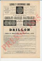 Chocolats Granulés Inaltérables Drillon 37 Boulevard Beaumarchais Encre De La Ville De Paris Messener Bouteille 237CH1 - Unclassified