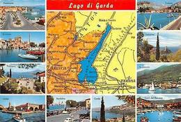 Italy Lago Di Garda Map Landkarte, Multiviews, Malcesine - Other