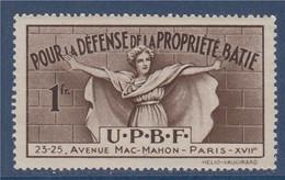 Vignette 1fr. Pour La Défense De La Propriété Bâtie Avenue Mac-Mahon Paris, Hélio-Vaugirard Neuf Gommé - Sonstige