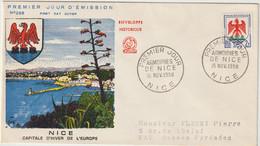 FDC FRANCE N° Yvert 1184 (BLASON NICE) Obl Sp 1er Jour - 1950-1959