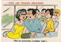 """CARTE FANTAISIE .ILLUSTRATION ALEXANDRE.SÉRIE VIVE LES VOYAGES ORGANISES """" MOI EN EXCURSION ,J'EXPLORE TOUT !."""" + TEXTE - Alexandre"""