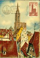 Cathédrale De Strasbourg Flamme Siège Du Conseil De L'Europe 21/9/57 Carte Postale éditions BD - 1950-59
