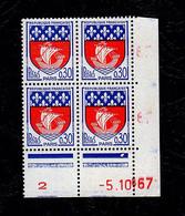 """FR Coins Datés YT 1354B """" Blason De Paris """" Neuf** Du 5.10.67 - 1960-1969"""