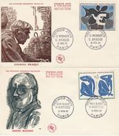 1319 à 1322 FDC BRAQUE / MATISSE /CEZANNE / DE LA FRESNAYE - PARIS 10.11.61 - 1960-1969