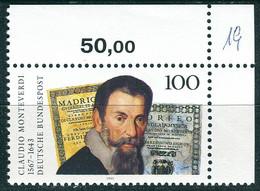 A14-04-7) BRD - Mi 1705 ECKE REU - ** Postfrisch - 100Pf  Claudio Monteverdi - Unused Stamps