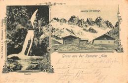 KEMATER ALM TIROL AUSTRIA~WASSERFALL-ALMHUTTEN~1902 J EHRNSBERGER MULTI PHOTO POSTCARD 49311 - Austria