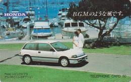 Télécarte JAPON / 110-011 - VOITURE - HONDA CIVIC & BATEAU - CAR & SHIP - JAPAN Phonecard - AUTO TK - 3351 - Bateaux