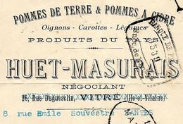 Lettre De Change 1924 Pommes De Terre & Pommes à Cidre HUET-MASURAIS 35 Vitré Puis 44 Nantes - Bills Of Exchange
