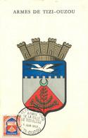 TIZI-OUZOU - ALGERIE - Les ARMES - ARMOIRIE De La VILLE - CPA - CARTE MAXIMUM - 1958 - (9 X 14 Cm) - Tizi Ouzou