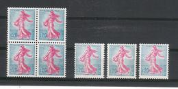 """Y. & T.  N° 1233e. + 1233f. /  Variété Coloris Et """"pieds Décalés""""  /  SEMEUSE De PIEL  ( Bloc De 4 + 3 Timbres ) - Variétés: 1960-69 Neufs"""