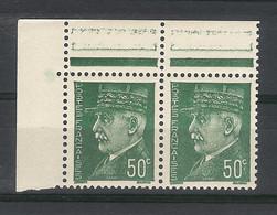 Y. & T.  N° 508  /  Variété De Coloris Sur Paire  /  PETAIN , Type HOURRIEZ  50 Ct. ( Couleur Vert Très Foncé ) - Variétés: 1941-44 Neufs