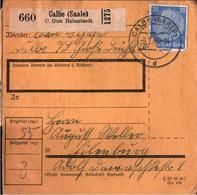 ! 1943 Calbe An Der Saale Nach Eilenburg, Zusammendrucke, Paketkarte, Deutsches Reich, 3. Reich - Lettres & Documents