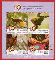 INDONESIA 2020, MS. 40 YEARS DIPLOMATIC RELATIONS INDONESIEN-KOLUMBIEN .MNH - Indonesia