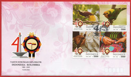 INDONESIA 2020, FDC. 40 YEARS DIPLOMATIC RELATIONS INDONESIEN-KOLUMBIEN .MNH - Textiles