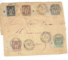 83 Type Sage 1 C. Noir Sur Azuré + 85 + 87 + 88 + 102 Sur Devant De Lettre Lyon Préfecture 19-10-1901 - Storia Postale