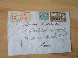 Recommande Paris 71 B Recette Auxiliaire Timbre 2 F Arc Triomphe Orange - 1921-1960: Modern Tijdperk