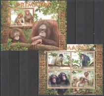 BC524 2012 GUINE GUINEA-BISSAU FAUNA WILD ANIMALS MONKEYS PRIMATES PRIMATAS KB+BL MNH - Apen
