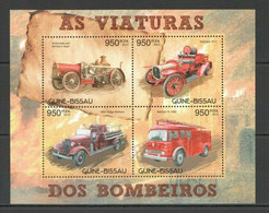 BC532 2012 GUINE GUINEA-BISSAU TRANSPORT FIRE TRUCKS FIREFIGHTERS BOMBEIROS KB MNH - Vrachtwagens