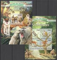 ST2819 2013 NIGER FAUNE NIGER WILD ANIMALS LES PRIMATES MONKEYS KB+BL MNH - Apen