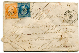 CORREZE De BRIVES Env. CHARGEE Du 14/12/1866 Avec N°23+N°23 Oblitérés GC 647 - 1849-1876: Periodo Clásico
