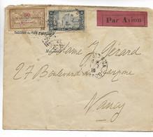 CASABLANCA Maroc Sur Env. PAR AVION CAD Sur MERON Surchargé + 1F MAROC 1928     ..G - Airmail