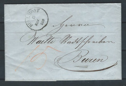 AAA-/-599.- LETTRE De DELEMONT 1853, TAXE MANUSCRITE 15 C. , TB - VOIR VERSO - 1843-1852 Correos Federales Y Cantonales