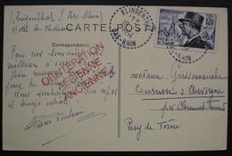 """Klingenthal 1954 Bas Rhin Cachet Tireté + Marque Rouge """" Oblitération Aérienne Ancienne"""" ??? Sur Carte D'Obernai - 1921-1960: Période Moderne"""