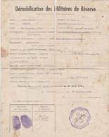 Militaria Feuille De Démobilisation Des Militaires De Réserve Artillerie Centre Recrutement De Belfort En 1940 - Documents