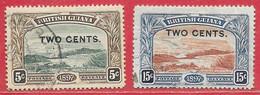 Guyane Britannique N°93 2c Sur 5c & N°95 2csur 15c 1899 O - British Guiana (...-1966)
