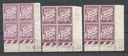 FRANCE TAXE ANNEE 1893/1935 N°42x3 BLOC DE 4 EX COIN DATE NEUFS** MNH TB COTE 24 € REMISE-90% - 1930-1939