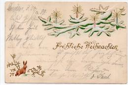 """DC3439 - Sehr Schöne Prägekarte """"Fröhliche Weihnachten"""" Tanne, Hase, Schnee, Winterlandschaft, Dresden 1899 - Sonstige"""