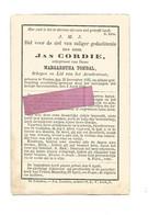 DD 295. JAN CORDIE  Echtg. M. Tombal - Schepen En Lid Armbestuur - °VEULEN 1837  En Aldaar + 1888 - Devotion Images